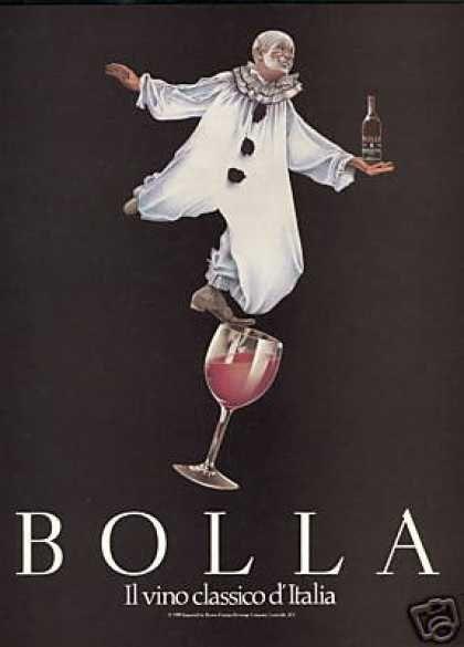 Vintage Italian Posters ~ #illustrator #Italian #posters #vintage ~ Italian Clown Bolla Classico Wine (1989) IFHN