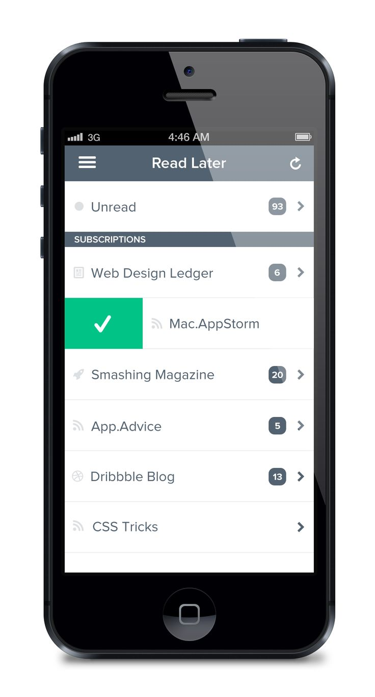 UI Design Flat Mobile List App