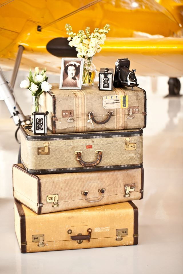 Vintage suitcases - cute decor for a travel themed wedding! Evergreen Aviation & Space Museum - McMinnville, OR.