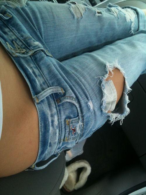 Black ripped pantyhose