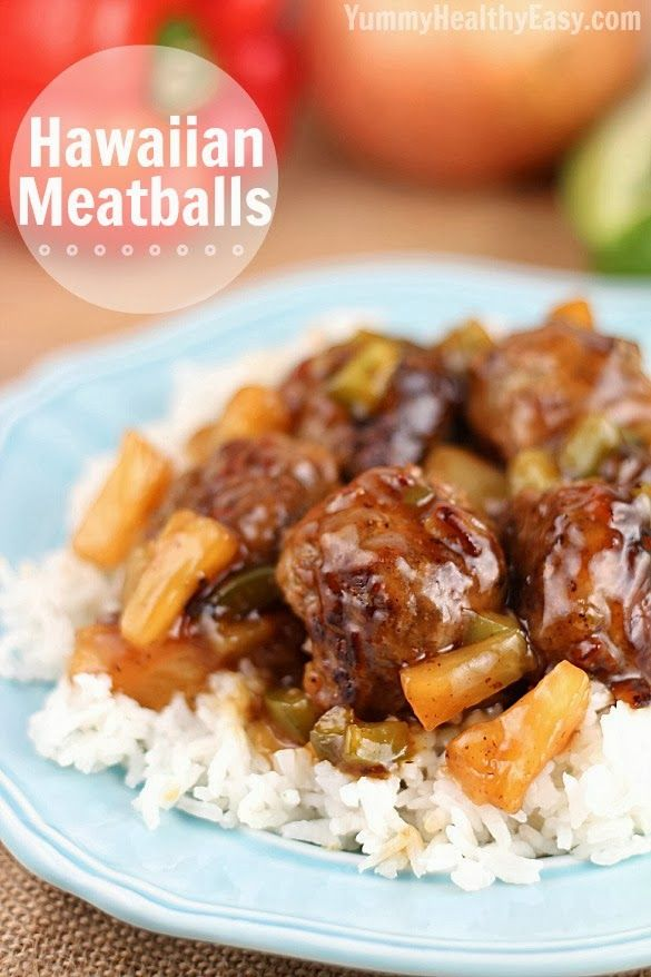 Hawaiian Meatballs | Delicious meatballs made with a ground beef mixture that include graham cracker crumbs, then cooked with an easy sweet & sour sauce, pineapple tidbits and green peppers. Quick and easy meal!