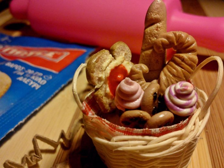 basket of bread and cakes