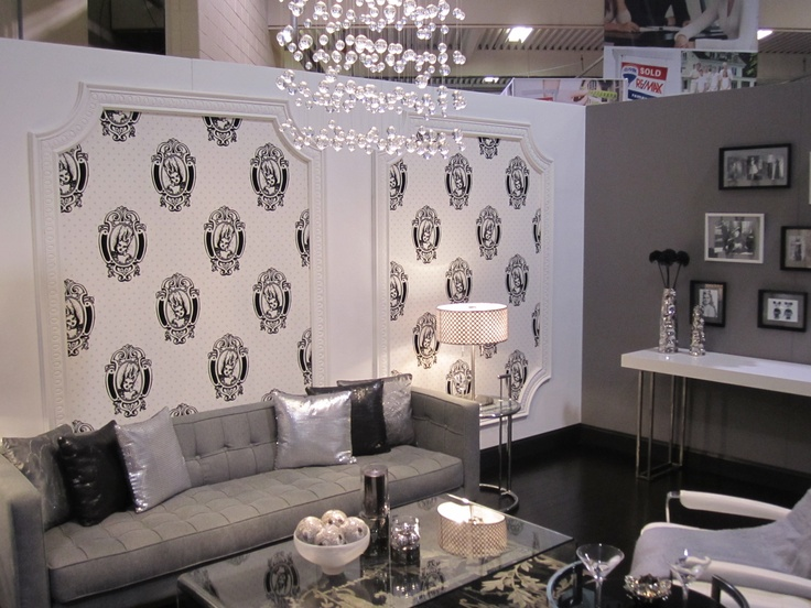 Black White And Silver Themed Room Living Room