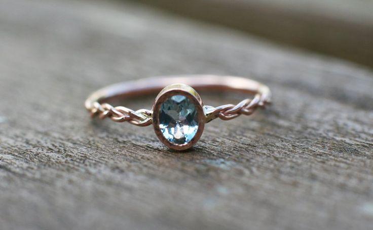 Ring Goldringe - Aquamarin Verlobungsring in 14 Karat Rotgold - ein Designerstück von arpelc bei DaWanda