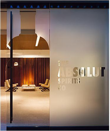 frosted glass doors with logo/design