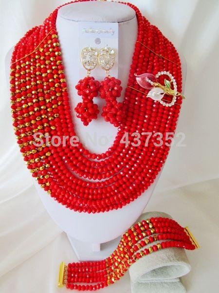 Нигерийские Бусы для Африканского Свадьбы Красный/Позолоченный Бусы Костюм Комплект Ювелирных Изделий Африканский Комплект Ювелирных Изделий Способа Бесплатная Доставка CPS-3144