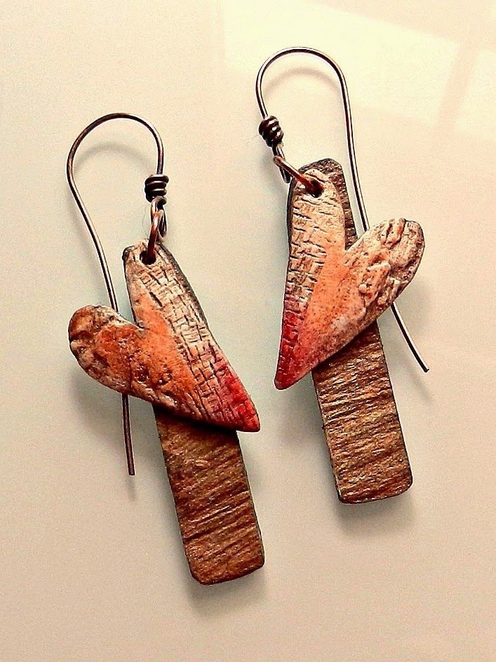 Not necessarily 'Valentine's Day' earrings - polymer clay, acrylic paint, crayons, Lillypilly slate veneer, handmade copper earwires