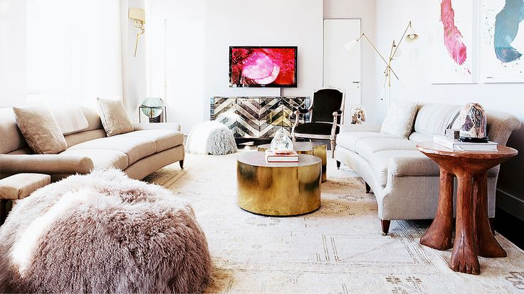 How to Get the Céline Look at Home // living room, brass table, pouf