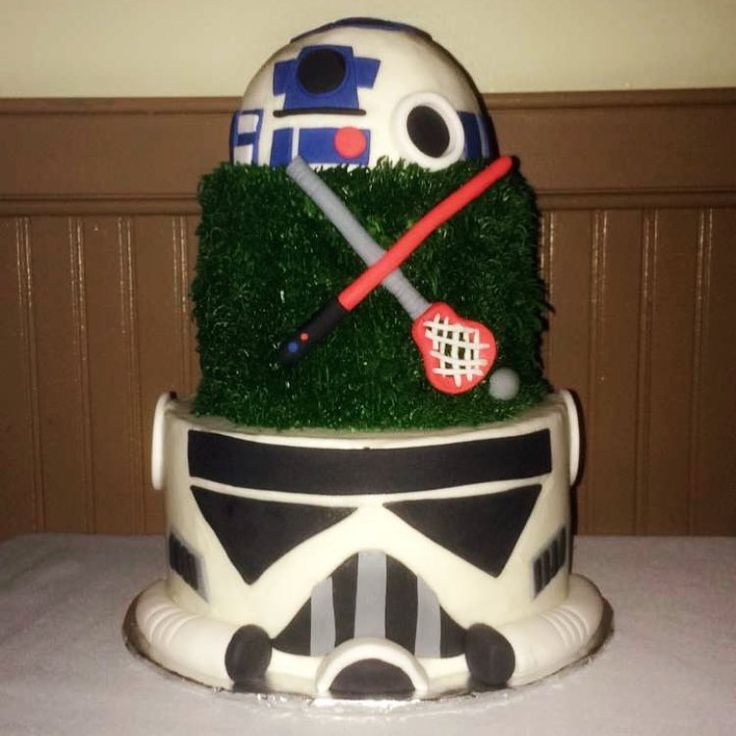 Charlies Groom Cake that I got for him. @kaydejaye did an amazing job!!!!!! Another wedding snip it . . #NewcomblyWed 11.4.2017 #Starwars #Lacrosse #Cake