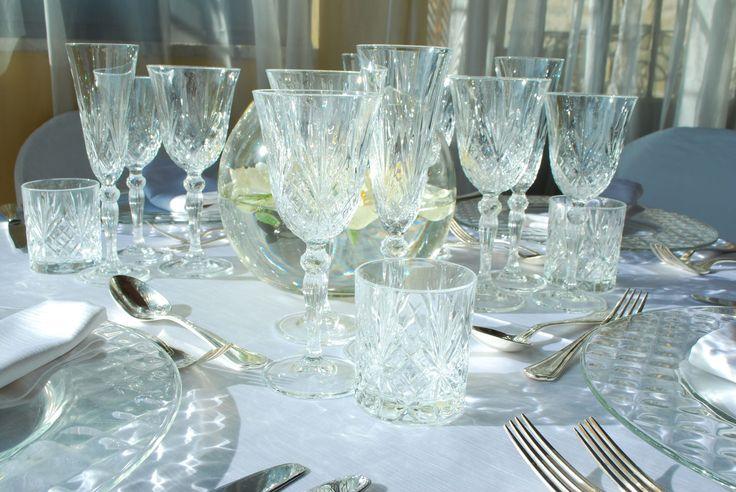 Bicchieri linea Liberty e sottopiatto Diamante vetro / Liberty glasses, glass Diamante tablemat