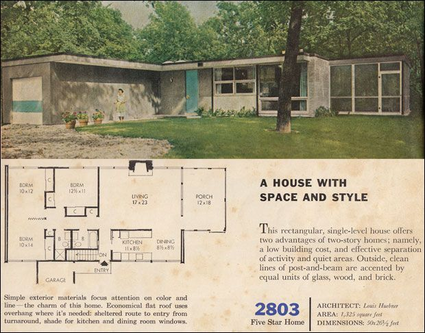 1960s interior house colors | 1960 Modern House Plan ...