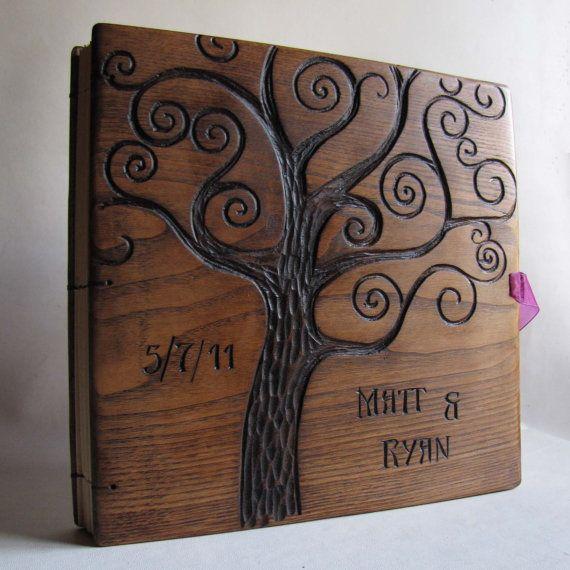 Wooden Wedding Album: Personalized Wedding Album Reclaimed Wood Photoalbum Hand