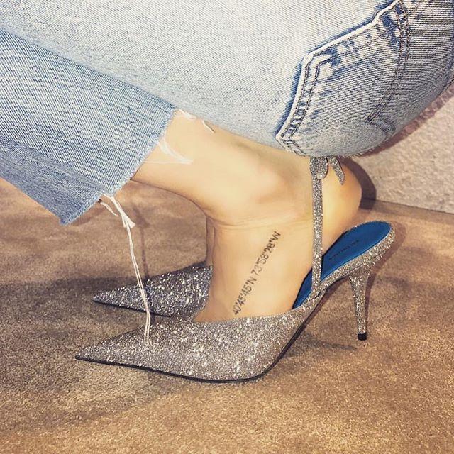 Balenciaga glitter slingbacks
