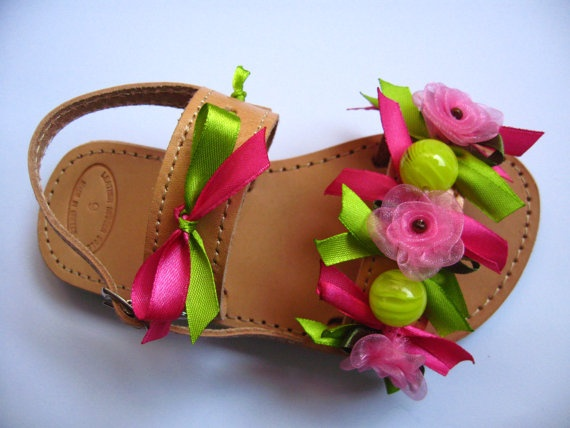 Handmade leather children sandals decorated with ribbons, organza flower and beads