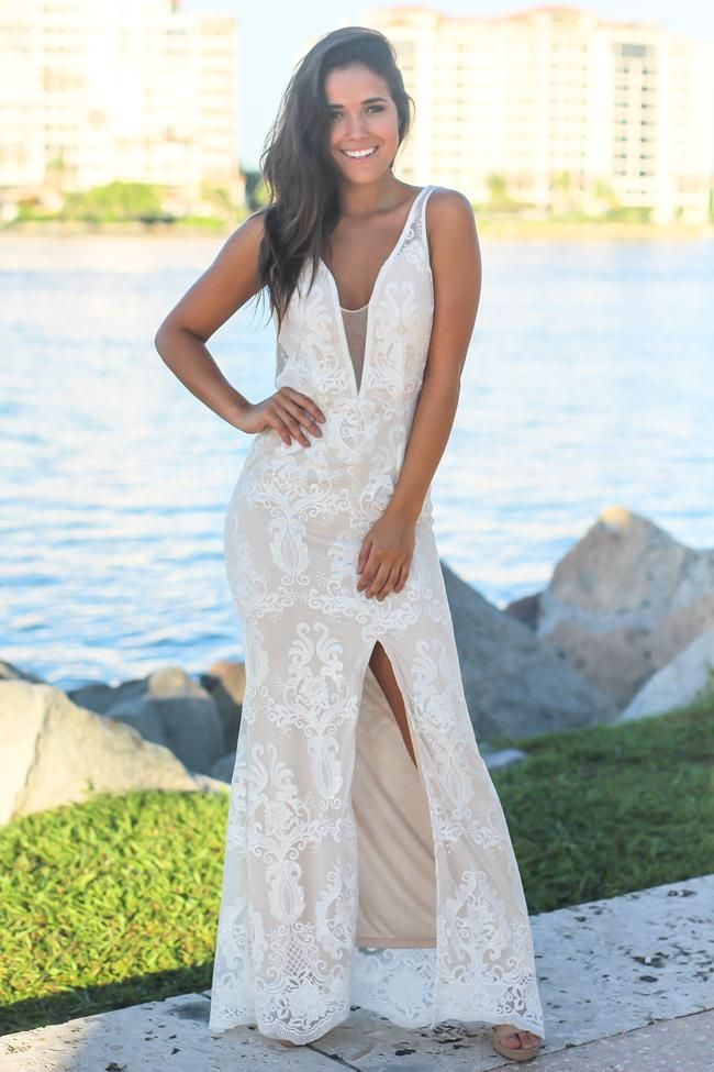 3a5fdcd575e White Embroidered Maxi Dress with Mesh Detail