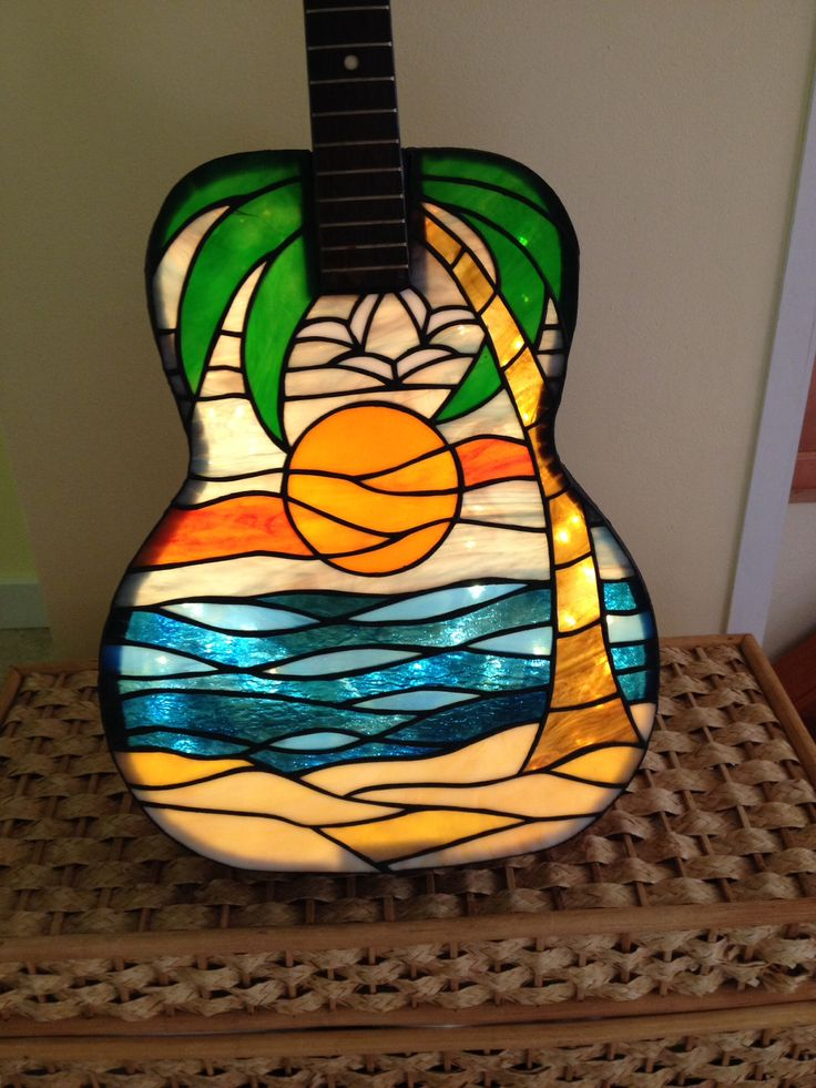 Stained Glass Guitar Lamp Sg Lamps Pinterest