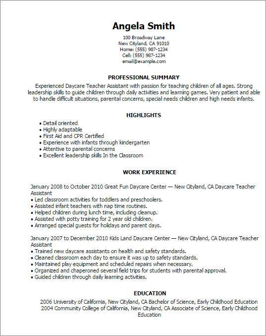 Sample Resume For Daycare Teacher Awesome 41 Best Sample