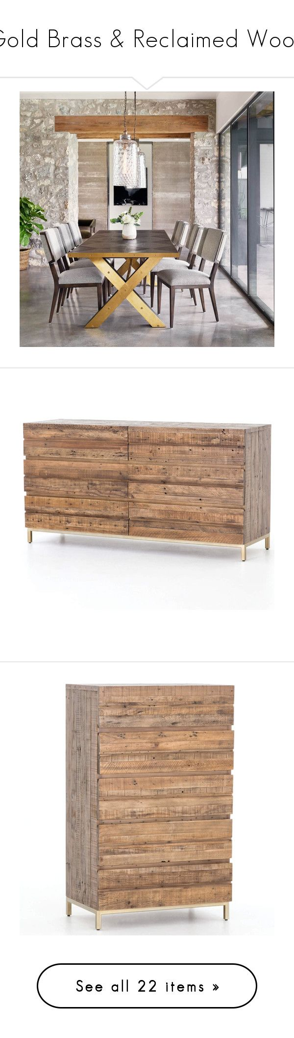 """""""Gold Brass & Reclaimed Wood"""" by zinhome ❤ liked on Polyvore featuring home, furniture, tables, dining tables, oak kitchen table, oakwood furniture, oak slab table, oak furniture, nailhead table and storage & shelves"""