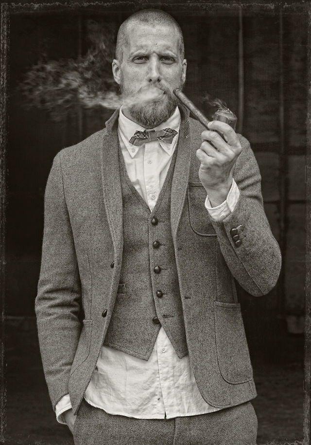 pipe smoker   dapper   smoke   gentleman   three piece suit   bow tie   vintage look