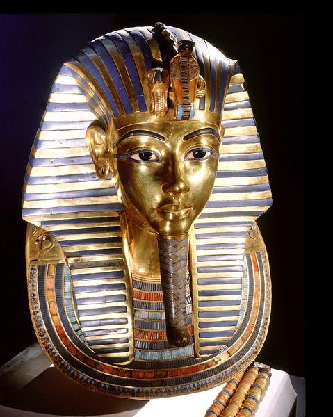 The mask of Tutankhamun Gold, glass, semi-precious stones. Egyptian 18th dynasty, Cairo Museum.