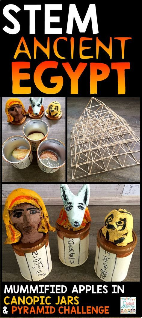 Ancient Egypt STEM Challenges - Mummified apples in canopic jars and pyramid challenges