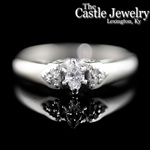 .15 C Marquise Diamond .25 CTTW Accented 10 K White Gold Engagement Ring