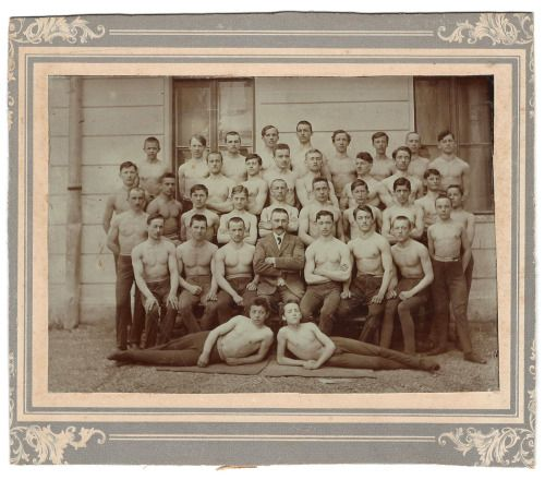 Members of a gymnastics club, 19th century.