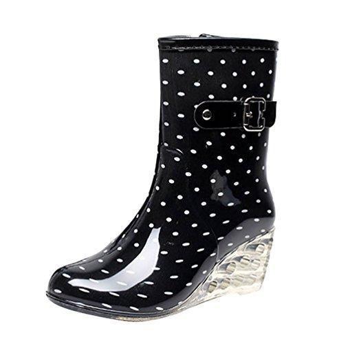 Oferta: 23.29€. Comprar Ofertas de LvRao Zapatos de Tacón Alto Botas Con Cremallera de las Mujeres | Botas de Agua Damas Patrón de Punto Botines de Lluvia Welli barato. ¡Mira las ofertas!