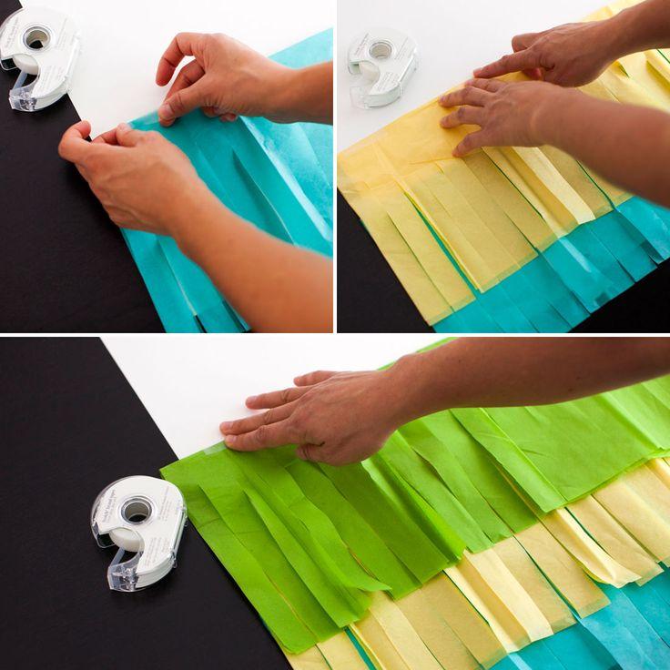 Use tissue paper to make a festive fringe photo backdrop.