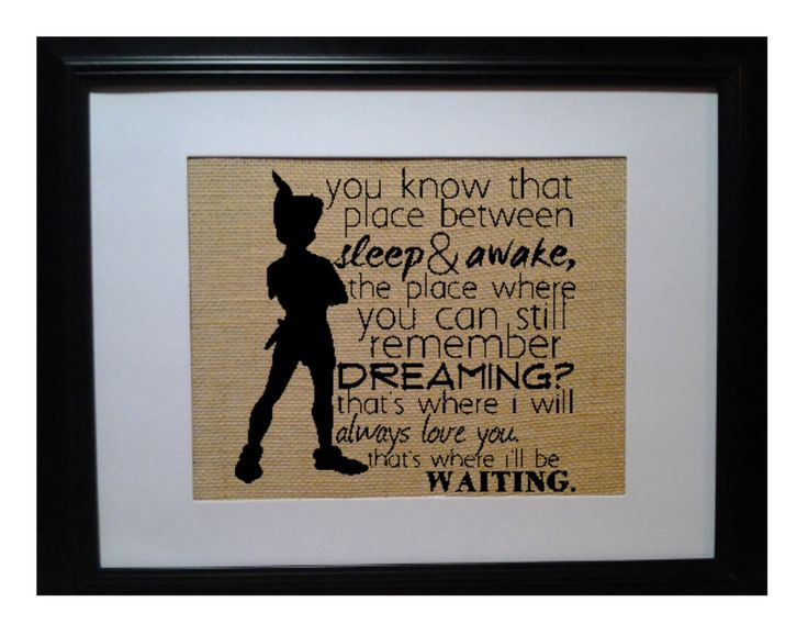 Peter Pan Quote, Neverland, JM Barrie, Place Between Sleep Quote, Nursery Gift, Baby shower Gift, Peter Pan Birthday, Peter Pan Nursery door BeanTownBurlap op Etsy https://www.etsy.com/nl/listing/262991343/peter-pan-quote-neverland-jm-barrie