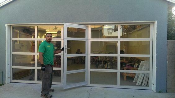 Glass Garage Doors with Passing Door : Full View Aluminum