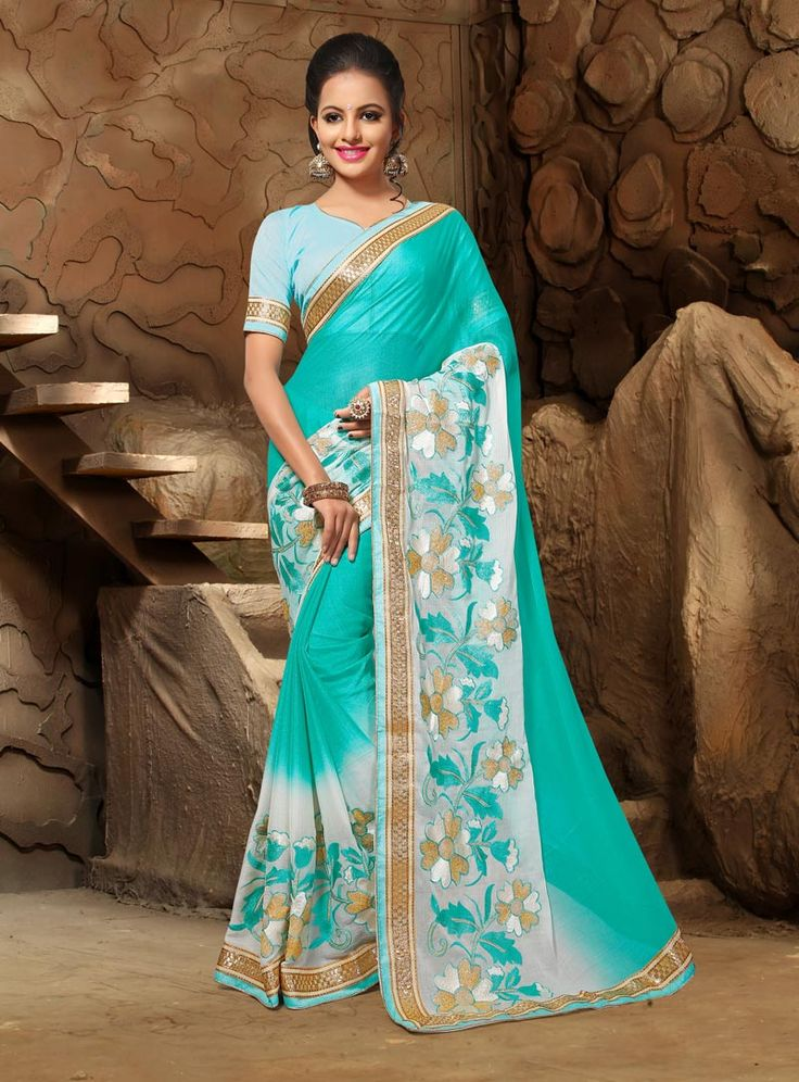 Sky Blue Chiffon Saree With Blouse 80876