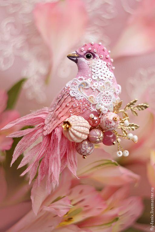 Купить миниатюрная брошь - птица розалин - колибри, птица, птичка, пташка, миниатюра, маленькая брошь