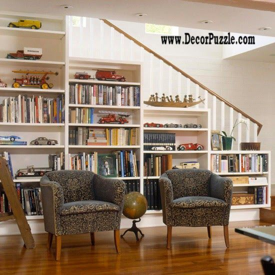 under stairs ideas and storage solutions, under stairs home library and bookshelf