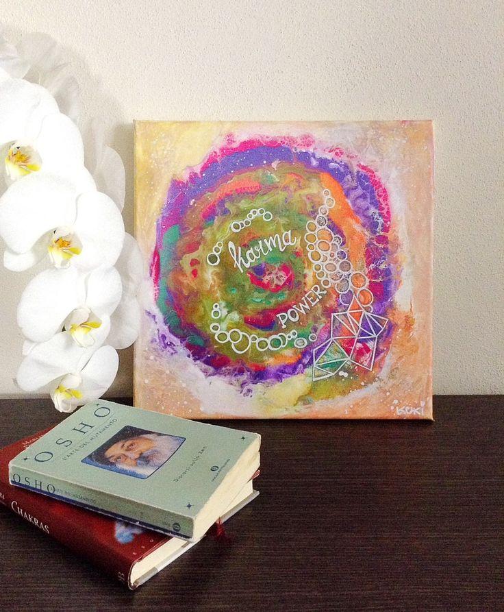 "Quadro ""Karma Power"" stampa arte motivazionale, stampa arte edificante, quadri astratti, stampe quadrate, namaste quadri, karma stampa arte di laKuki su Etsy"