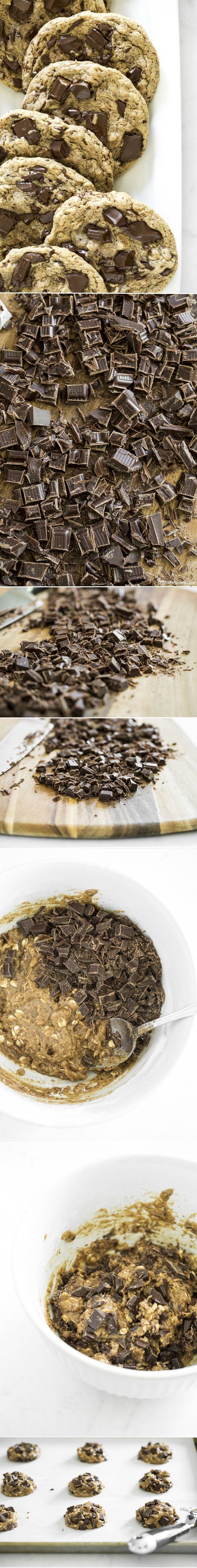 One Bowl Jumbo Chocolate Chunk Cookies (vegan + gf) — Taste like nutty-oatmeal cookies. So good!