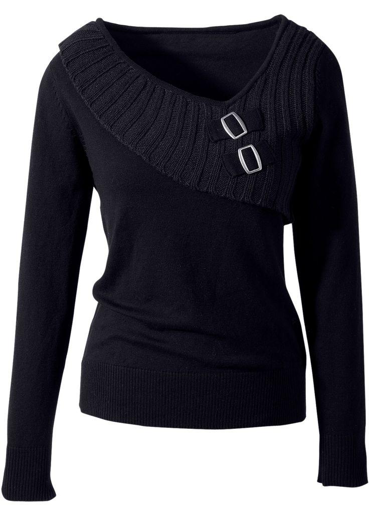 Pullover Nero - BODYFLIRT è ordinabile nello shop on-line di bonprix.it da ? 24,99. Originale la lavorazione a maglia grossa sullo scollo, asimmetrico e ...