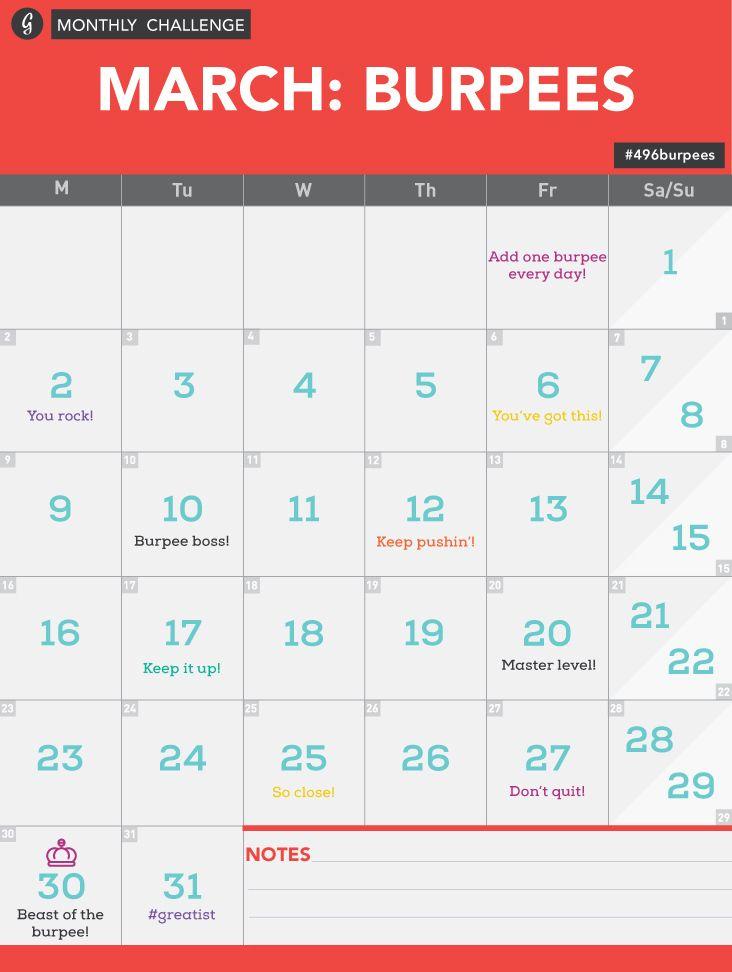 Burpee Challenge Calendar #496burpees