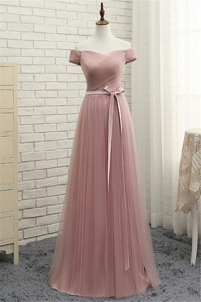 f67c4a8db36a Off The Shoulder Long Dusty Rose Tulle Ruched Prom Dress With Bow Sash Long  Bridesmaid Dresses