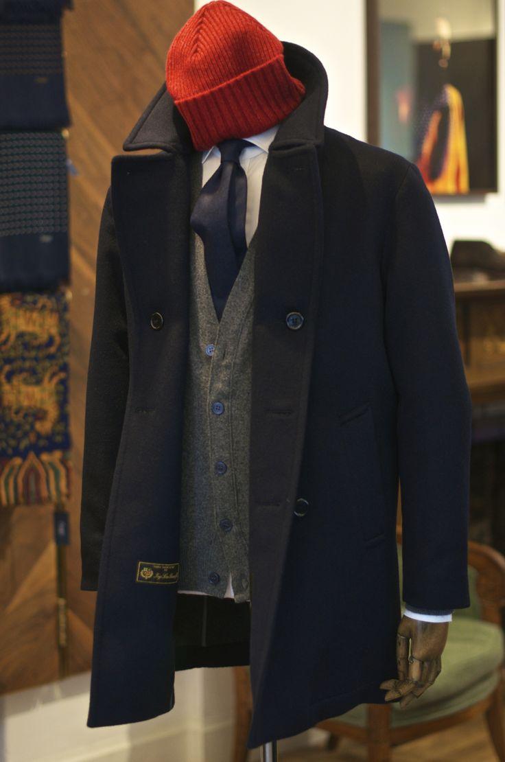 drakes-london:Cousteau/Zissou inspiration for Autumn-Wool Peacoat