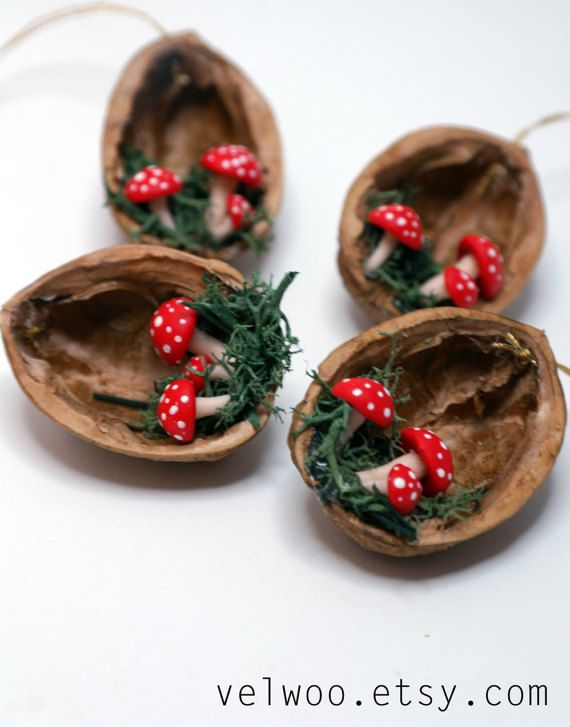 These handmade ornaments are created from walnut shell and polymer clay mushrooms. I recommend this lovely mushroom ornaments for every nature-lover!