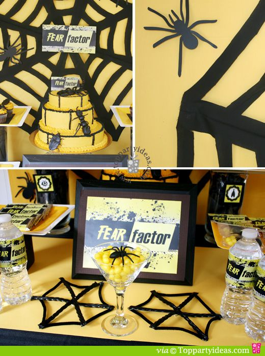 Fear Factor Party Ideas and Printables. Free Printables for water bottles, invitations, thank you tags, cupcake toppers, cake toppers, centerpiece and decor.