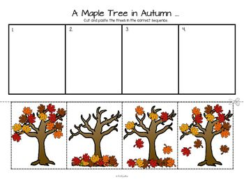***FREE*** A sequencing activity and discussion starter featuring a maple tree in fall/autumn.  I have included a color copy, a b/w copy, and a coloring page, where leaves can be colored separately in various Fall colors.  Other Fall items can also be added to the picture.