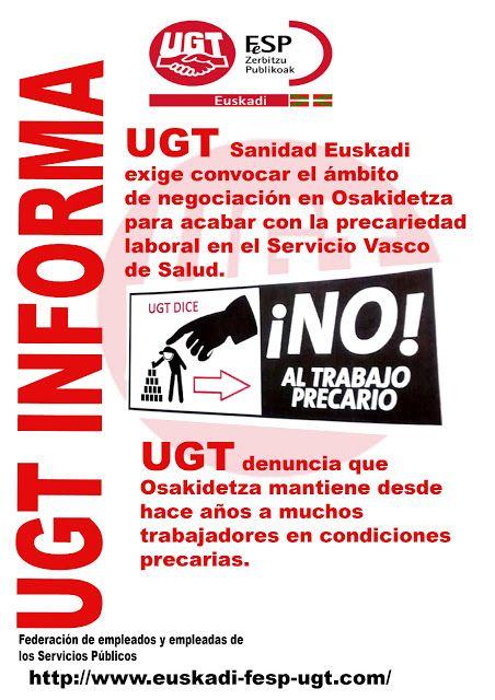 UGT denuncia que Osakidetza mantiene a muchos trabajadores en condiciones precarias.