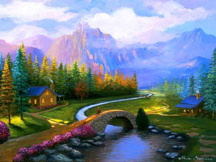 1837 best casas de campo y bellos paisajes pintados images - Paisajes de casas de campo ...