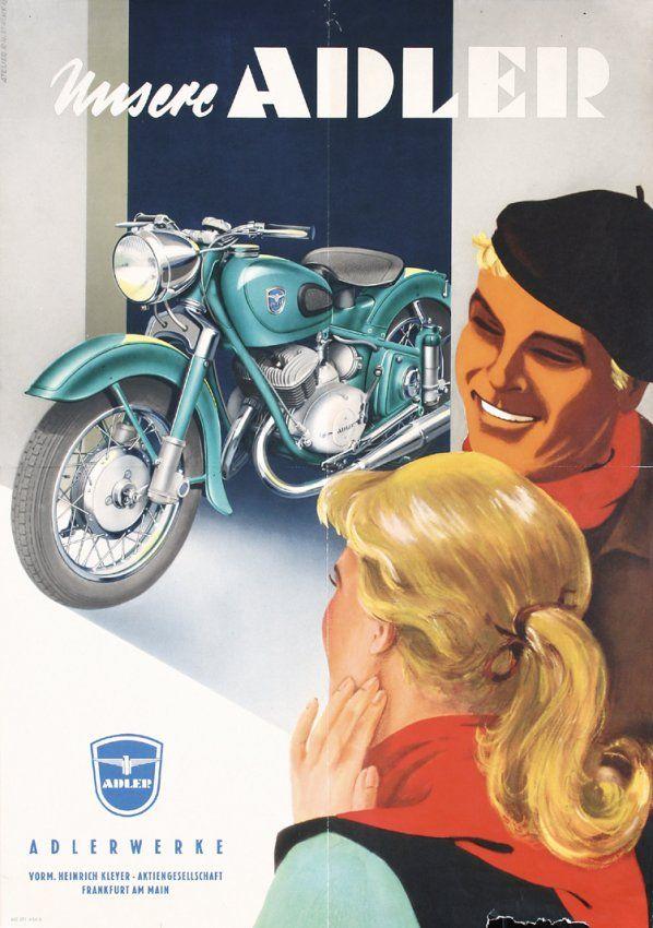 Old Original 1950s Adler Motorcycle Poster Plakat.