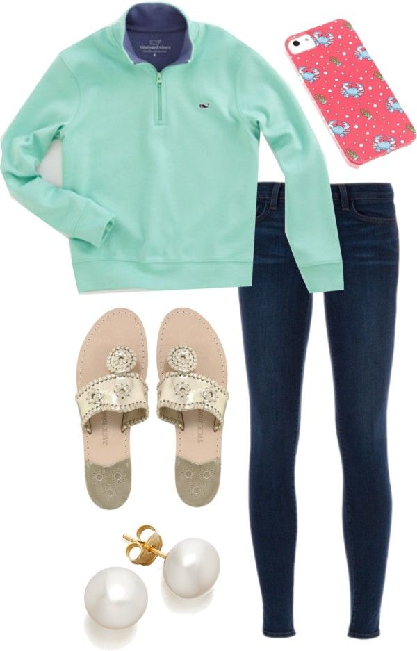 simple and comfy! by the-southern-prep featuring pearl earrings ❤ liked on PolyvoreJ Brand , $405 / Jack Rogers flat shoes /