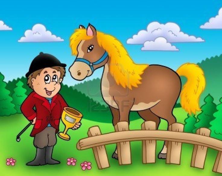 Jockey De Dibujos Animados Con Caballo Ilustracion De Color Dibujos Animados Dibujos Illustration