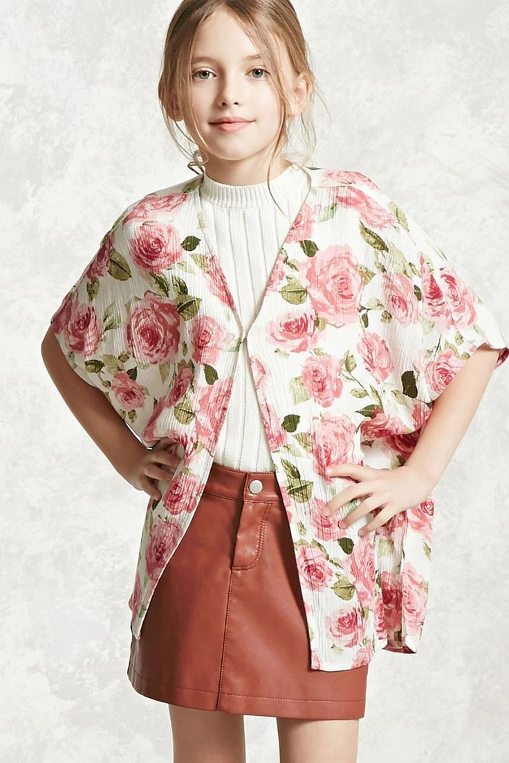 Forever 21 Girls - A woven gauze cardigan featuring an allover rose print, open front with a concealed hook-eye closure, short dolman sleeves, and vented sides.