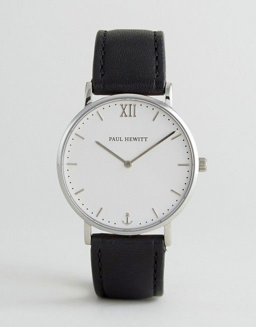 Paul Hewitt Sailor Leather Watch In Black